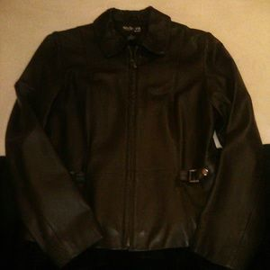Style & Co Genuine Leather Coat